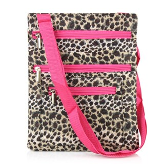 Zodaca Leopard Pink Trim Lightweight Padded Shoulder Cross Body Bag Messenger Travel Camping Zipper Bag