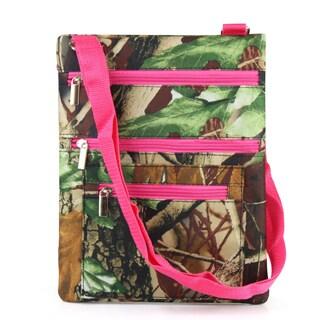 Zodaca Natural Camo with Pink Trim Lightweight Padded Shoulder Cross Body Bag Messenger Travel Camping Zipper Bag