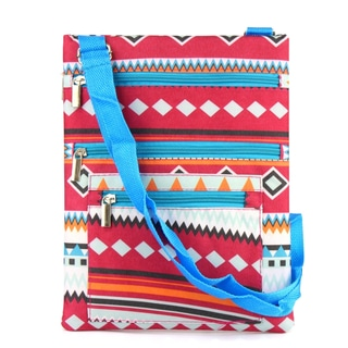 Zodaca Aztec with Blue Trim Lightweight Padded Shoulder Cross Body Bag Messenger Travel Camping Zipper Bag