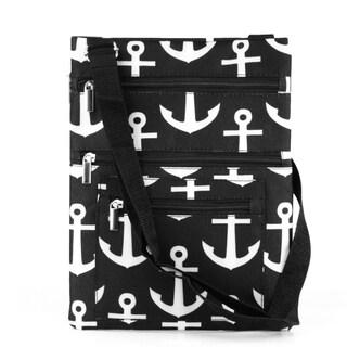 Zodaca Black Anchors Lightweight Padded Shoulder Cross Body Bag Messenger Travel Camping Zipper Bag