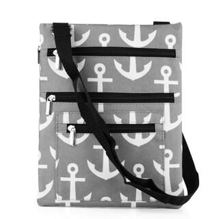 Zodaca Grey Anchors with Black Trim Lightweight Padded Shoulder Cross Body Bag Messenger Travel Camping Zipper Bag