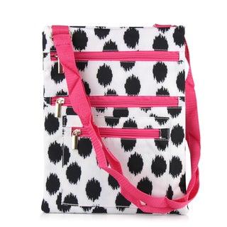 Zodaca Black Dots with Pink Trim Lightweight Padded Shoulder Cross Body Bag Messenger Travel Camping Zipper Bag