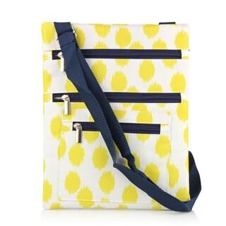 Zodaca Yellow Dots with Blue Trim Lightweight Padded Shoulder Cross Body Bag Messenger Travel Camping Zipper Bag