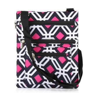 Zodaca Black Graphic Lightweight Padded Shoulder Cross Body Bag Messenger Travel Camping Zipper Bag