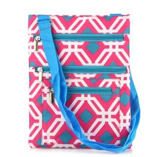 Zodaca Pink Graphic Lightweight Padded Shoulder Cross Body Bag Messenger Travel Camping Zipper Bag