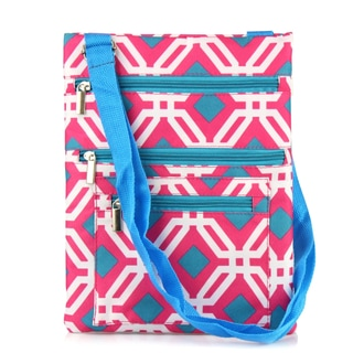 Zodaca Pink Graphic Lightweight Padded Shoulder Cross Body Bag Messenger Travel Camping Zipper Bag