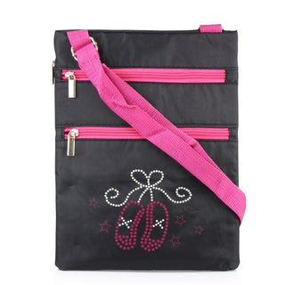 Zodaca Ballet Two Slippers Lightweight Padded Shoulder Cross Body Bag Messenger Travel Camping Zipper Bag