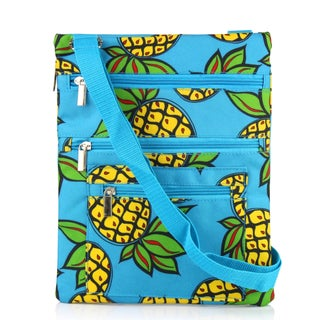 Zodaca Pineapple Lightweight Padded Shoulder Cross Body Bag Messenger Travel Camping Zipper Bag