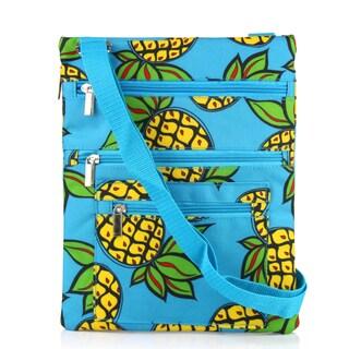 Zodaca Pineapple Lightweight Padded Shoulder Cross Body Bag Messenger Travel Camping Zipper Bag
