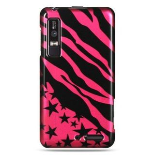 Insten Black/Hot Pink Zebra/Star Hard Snap-on Case Cover For Motorola Droid 3