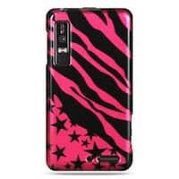 Insten Black/Hot Pink Zebra/Star Hard Snap-on Case Cover For Motorola Droid 3