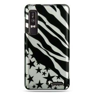 Insten Black/Silver Zebra/Star Hard Snap-on Case Cover For Motorola Droid 3
