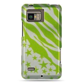 Insten Green/Clear Zebra/Star Hard Snap-on Case Cover For Motorola Droid Bionic XT875 Targa