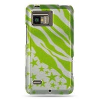 Insten Green/Clear Zebra/Star Hard Snap-on Case Cover For Motorola Droid Bionic XT875 Targa