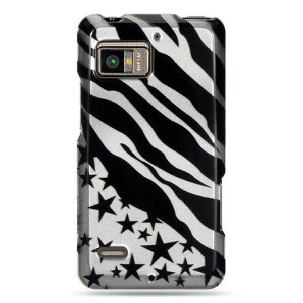 Insten Black/Silver Zebra/Star Hard Snap-on Case Cover For Motorola Droid Bionic XT875 Targa