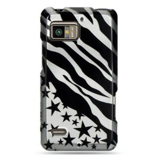 Insten Black/Silver Zebra/Star Hard Snap-on Case Cover For Motorola Droid Bionic XT875 Targa