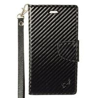 Insten Black Carbon Fiber Leather Case Cover Lanyard with Stand/  Wallet Flap Pouch/  Photo Display For LG G6