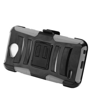 Insten Black/  Gray Advanced Armor Hard PC/   Silicone Dual Layer Hybrid Case Cover with Stand/  Holster For LG X Power 2