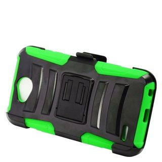 Insten Black/  Green Advanced Armor Hard PC/   Silicone Dual Layer Hybrid Case Cover with Stand/  Holster For LG X Power 2