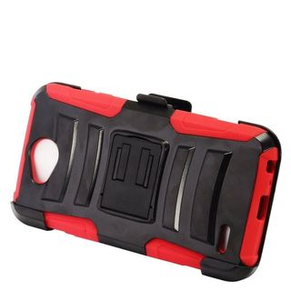 Insten Black/  Red Advanced Armor Hard PC/   Silicone Dual Layer Hybrid Case Cover with Stand/  Holster For LG X Power 2