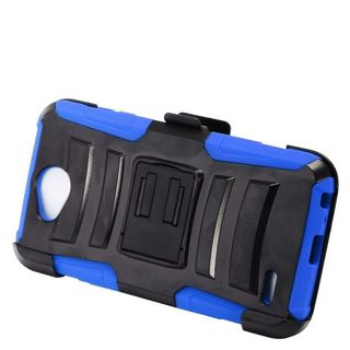 Insten Black/  Blue Advanced Armor Hard PC/   Silicone Dual Layer Hybrid Case Cover with Stand/  Holster For LG X Power 2