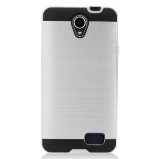 Insten Silver/  Black Chrome Hard Plastic Dual Layer Hybrid Brushed Case Cover For ZTE Prestige 2 N9136