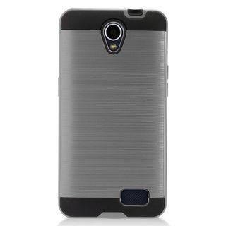 Insten Gray/  Black Chrome Hard Plastic Dual Layer Hybrid Brushed Case Cover For ZTE Prestige 2 N9136