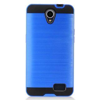 Insten Blue/  Black Chrome Hard Plastic Dual Layer Hybrid Brushed Case Cover For ZTE Prestige 2 N9136