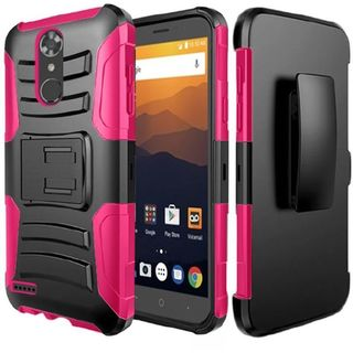 Insten Black/  Hot Pink Hard PC/   Silicone Dual Layer Hybrid Rubberized Matte Case with Stand/  Holster For ZTE Max XL N9520