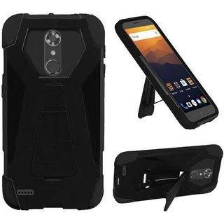 Insten Black T-Stand Hard PC/   Silicone Rubberized Matte Case Cover with Stand For ZTE Max XL N9520