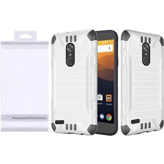 Insten White/  Black Slim Armor Hard Snap-on Dual Layer Hybrid Brushed Case Cover For ZTE Max XL N9520