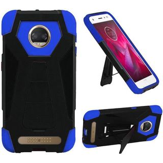 Insten Black/ Blue T-Stand Hard PC/ Silicone Rubberized Matte Case Cover with Stand For Motorola Moto Z2 Force Edition/ Z2 Play
