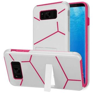 Insten White/  Hot Pink Hard Snap-on Dual Layer Hybrid Case Cover with Stand For Samsung Galaxy S8