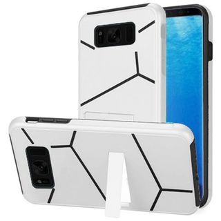 Insten White/  Black Hard Snap-on Dual Layer Hybrid Case Cover with Stand For Samsung Galaxy S8