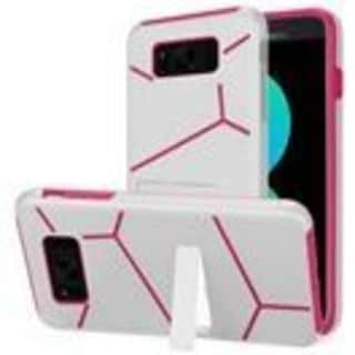 Insten White/  Hot Pink Hard Snap-on Dual Layer Hybrid Case Cover with Stand For Samsung Galaxy S8 Plus S8+