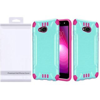 Insten Teal/  Hot Pink Slim Armor Hard Snap-on Dual Layer Hybrid Brushed Case Cover For LG X Power 2