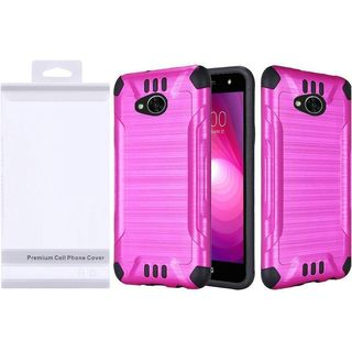 Insten Hot Pink/  Black Slim Armor Hard Snap-on Dual Layer Hybrid Brushed Case Cover For LG X Power 2