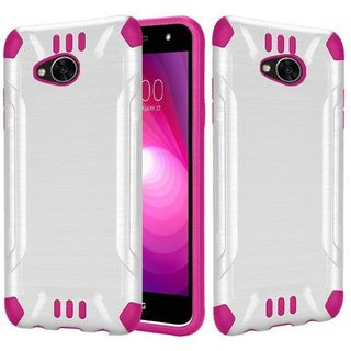 Insten White/  Hot Pink Slim Armor Hard Snap-on Dual Layer Hybrid Brushed Case Cover For LG X Power 2