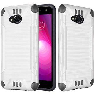 Insten White/  Black Slim Armor Hard Snap-on Dual Layer Hybrid Brushed Case Cover For LG X Power 2