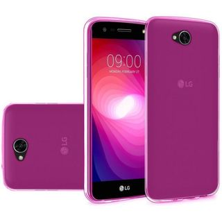 Insten Hot Pink Clear TPU Rubber Candy Skin Case Cover For LG X Power 2