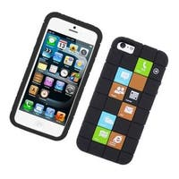 Insten Black Checker Soft Silicone Skin Rubber Case Cover For Apple iPhone 5/5C/5S