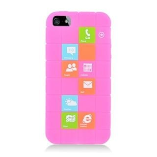 Insten Hot Pink Checker Soft Silicone Skin Rubber Case Cover For Apple iPhone 5/5C/5S