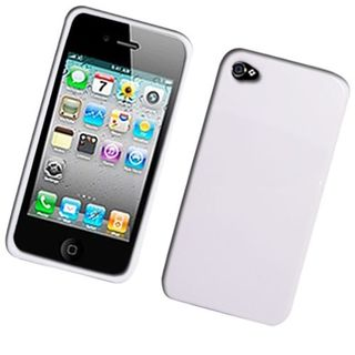 Insten White TPU Rubber Candy Skin Case Cover For Apple iPhone 4/4S