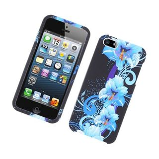 Insten Black/Blue Flowers Hard Snap-on Case Cover For Apple iPhone 5/5S