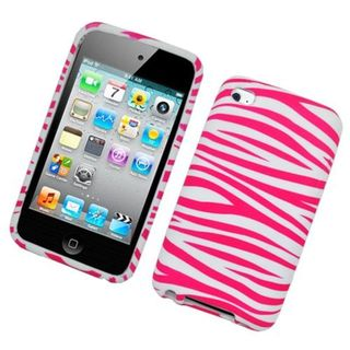 Insten Hot Pink/White Zebra Hard Snap-on Case Cover For Apple iPod Touch 4th Gen