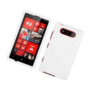 Insten White Hard Snap-on Rubberized Matte Case Cover For Nokia Lumia 820