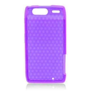 Insten Purple TPU Rubber Candy Skin Case Cover For Motorola Droid Razr XT912