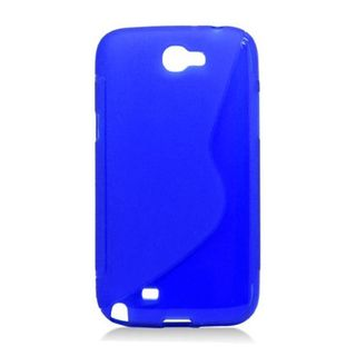 Insten Blue S Shape TPU Rubber Candy Skin Case Cover For Samsung Galaxy Note II