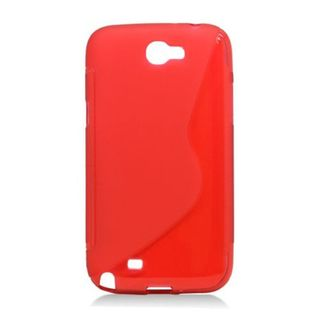 Insten Red S Shape TPU Rubber Candy Skin Case Cover For Samsung Galaxy Note II