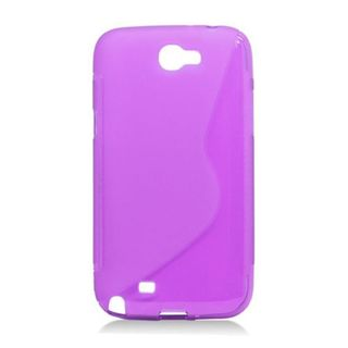 Insten Purple S Shape TPU Rubber Candy Skin Case Cover For Samsung Galaxy Note II